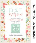 bat mitzvah invitation card in... | Shutterstock .eps vector #200602298