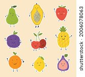 cute fruit with face. fruits on ... | Shutterstock .eps vector #2006078063