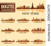 Silhouette city set of USA 1 on brown. Vector illustration - stock vector