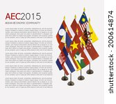 Small photo of poster, copyspace with background of desktop national flags for the AEC member, asean economic community