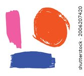 Pink Watercolor Acrylic. Blue...