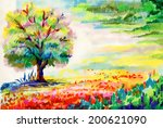 hand drawn flowers and tree... | Shutterstock .eps vector #200621090
