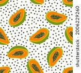 papaya pattern. seamless... | Shutterstock .eps vector #2006229260