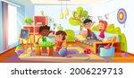 kids playing in room  children...   Shutterstock .eps vector #2006229713