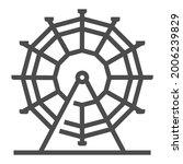 ferry wheel  square line vector ...