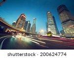 night traffic in shanghai... | Shutterstock . vector #200624774