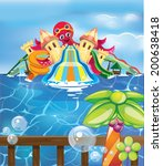 aqua park with octopus | Shutterstock .eps vector #200638418