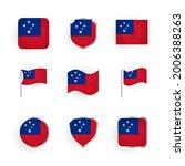 samoa flag icons set stylish... | Shutterstock .eps vector #2006388263