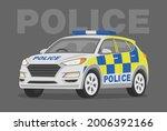 Isolated Modern Police Car....
