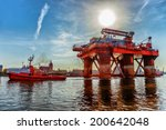 towing oil rig in the port of... | Shutterstock . vector #200642048