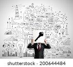businessman hiding his face... | Shutterstock . vector #200644484