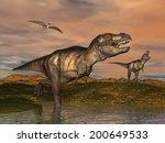 Two Tyrannosaurus Rex Dinosaur...