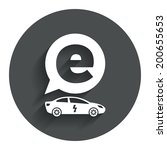 electric car sign icon. sedan...
