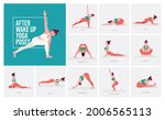 after wake up yoga poses. young ... | Shutterstock .eps vector #2006565113