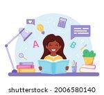 indian girl reading book. girl...   Shutterstock .eps vector #2006580140