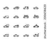 car vector black icon set on... | Shutterstock .eps vector #200658620
