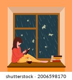 a girl sits by the window ...   Shutterstock .eps vector #2006598170