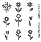 Set Of Flower Icons. Vector...