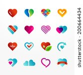 heart symbol vector icon set.... | Shutterstock .eps vector #200664434