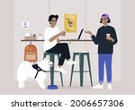 two millennials chatting at the ... | Shutterstock .eps vector #2006657306