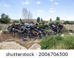 Unused Old Car Tires. Tire Pile....