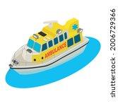 ambulance boat icon isometric...   Shutterstock .eps vector #2006729366