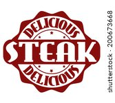 delicious steak stamp or label... | Shutterstock .eps vector #200673668
