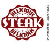 delicious steak stamp or label... | Shutterstock .eps vector #200673668