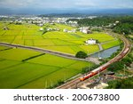 the train pass over the rice... | Shutterstock . vector #200673800