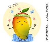 cute mango character doing yoga ... | Shutterstock .eps vector #2006760986