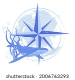 whale and compass vector stock... | Shutterstock .eps vector #2006763293