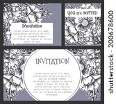 set of invitations with floral... | Shutterstock .eps vector #200678600
