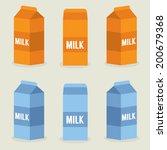 Milk Boxes Collection Vector...