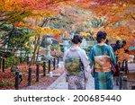 japanese ladies in kimono enjoy ... | Shutterstock . vector #200685440