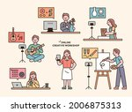people are taking hobby classes ... | Shutterstock .eps vector #2006875313