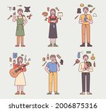 people are standing with hobby... | Shutterstock .eps vector #2006875316