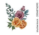 watercolor drawing bouquet of... | Shutterstock . vector #2006876090
