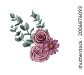 watercolor drawing bouquet of... | Shutterstock . vector #2006876093