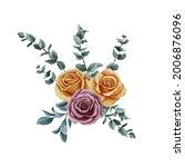 watercolor drawing bouquet of... | Shutterstock . vector #2006876096