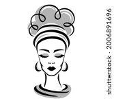 sketch of a woman's head. a... | Shutterstock .eps vector #2006891696