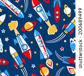 rockets in space seamless... | Shutterstock .eps vector #200689499