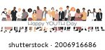 happy youth day card. people of ... | Shutterstock .eps vector #2006916686