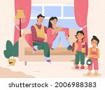family in living room together. ...   Shutterstock .eps vector #2006988383