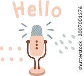 podcast concept vector doodle.... | Shutterstock .eps vector #2007001376