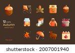 autumn seasonal flat design...   Shutterstock .eps vector #2007001940