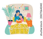 mother and daughter reading... | Shutterstock .eps vector #2007064040