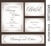 set of wedding cards or... | Shutterstock .eps vector #200710268