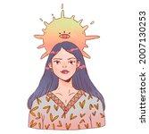beautiful young lady with sun. | Shutterstock . vector #2007130253