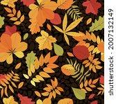 seamless bright leaves. autumn... | Shutterstock .eps vector #2007132149