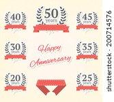 vector set of anniversary... | Shutterstock .eps vector #200714576